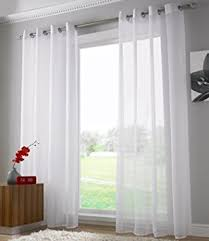 Amazon Uk Living Room Curtains by Plain Voile Curtain Panel Ring Top Heading Eyelet Voile Curtains