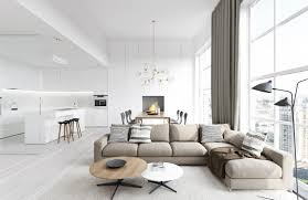 Amazing Design Ideas Using Round Brown White Wooden Tables And L Shaped Fabric Sofas Also