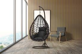 hanging chair in polyrattan with frame universo 800x600x1200 mm black brown