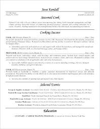Resume For Cook Sample Position