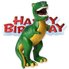 dinosaur cake topper with happy birthday motto