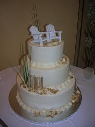 2 Beach Adirondack And Fence Wedding Cake