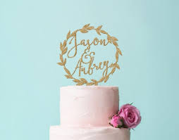 Wedding Names Cake Topper Personalized Laurel Wreath In Gold Glitter Or Rustic Wooden Boho Chic Item