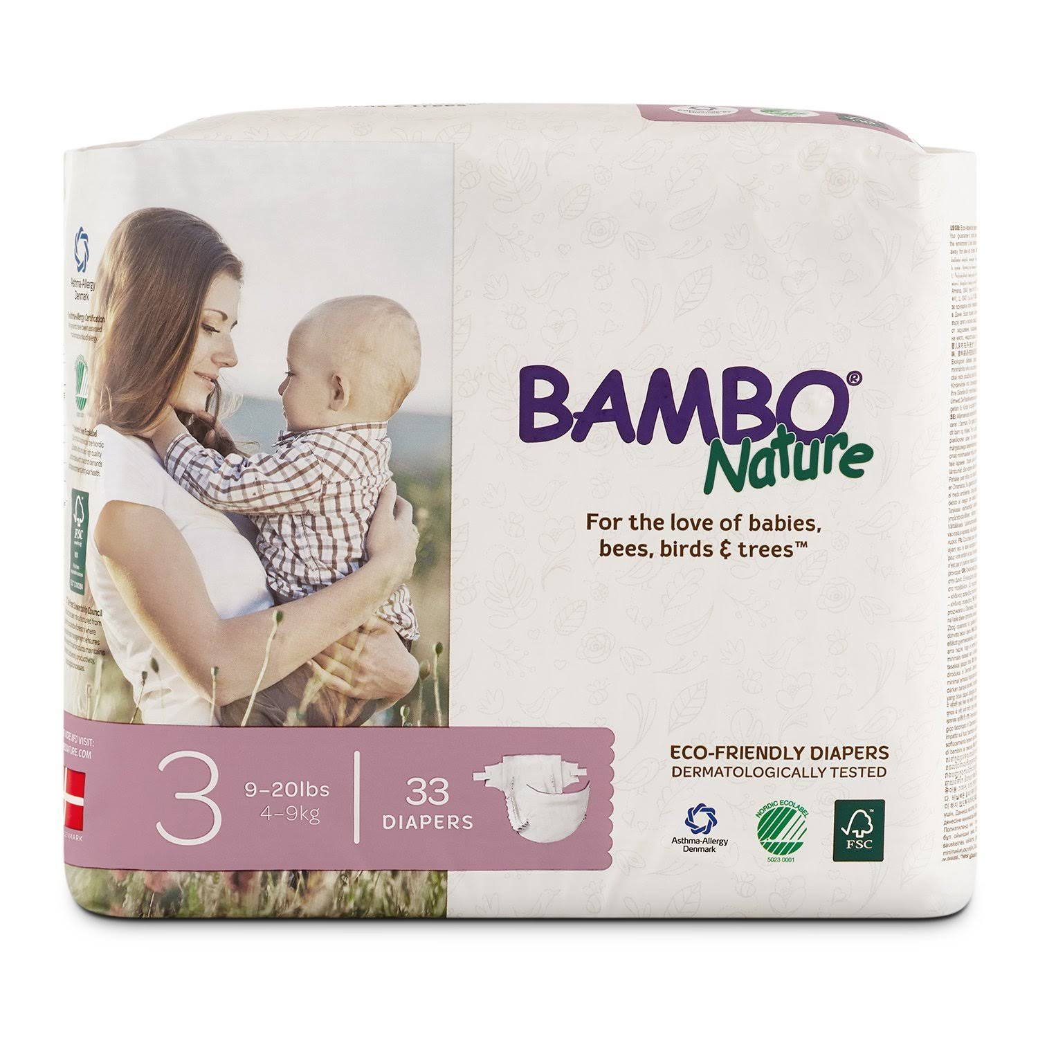 Bambo Nature Premium Baby Diapers - Size 3, 33ct