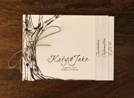 Custom Rustic Wedding Invitation Booklet Design Tree Illustration Handwritten Font Bound With