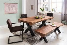 esszimmertisch 200 x 100 x 77 cm akazie landhaus stil voll holz design esstisch rechteckig tisch für esszimmer baumstamm küchentisch 8 personen