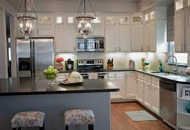 Kitchen Luxury White Cabinets With Engineered Floor And Black Countertop