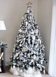 Bold And Modern Christmas Tree 9 Feet White Flocked Cover Foot Tall Slim