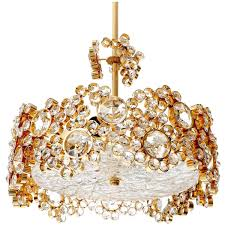 Palwa Chandelier or Pendant Light Gilt Brass and Crystal Glass