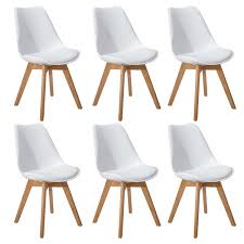 DORAFAIR Set Of 6 Tulip Dining Chair Plastic Wood Office Chair With Solid Wood Oak LegsOfficeKitchen Chairs With Padded SeatWhiteu2026