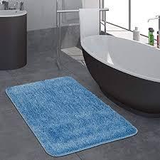 paco home moderner hochflor badezimmer teppich einfarbig badematte rutschfest in blau grösse 40x55 cm