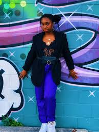 Acid Cupcakes Pants Styled With A Bodysuit Blazer And Chunky Sneakers