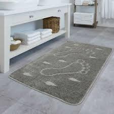 details zu design badematte rutschfester badvorleger badezimmer teppich motiv füße in grau