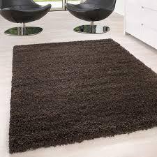 hochflor langflor wohnzimmer shaggy teppich unifarbe florhöhe 5cm braun größe 60x110 cm