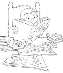 Curious George Reading Printable Coloring Book Page For Kids