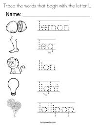 Trace the words that begin with the letter L Coloring Page Twisty