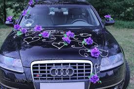 decoration voiture de mariés roses violette