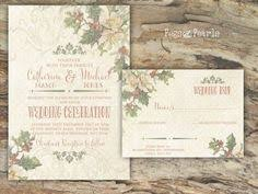 Details About PERSONALISED RUSTIC HOLLY CHRISTMAS WEDDING INVITATIONS PACKS OF 10