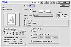 Select CD R From The Media Type List Box And Print Position Check Pattern In Test Click