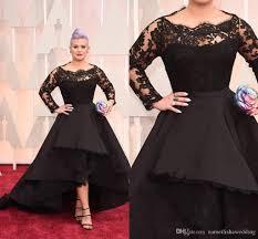 plus size black lace formal evening dresses 2017 high low bateau