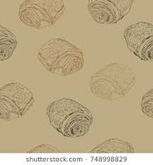 Chocolate Croissants Pain Au Chocolat Traditional French Pastry Hand Draw Sketch Seamless