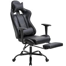 Office Chair PC Gaming Chair Ergonomic Desk Chair Executive PU Leather  Computer Chair Lumbar Support With Footrest Modern Task Rolling Swivel  Racing ...