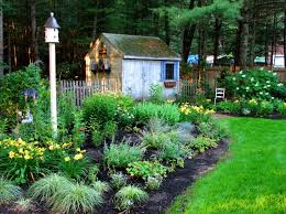 Garden Perennial Plans Flower Layout A Small Rustic Wooden House For Fertilizer