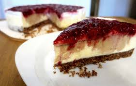 erdnussbutter cheesecake mit karamellisiertem himbeer