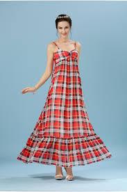 women summer traditional tartan plaid dress maxi length red tartan