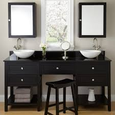 bathroom black wooden vanity and makeup cabinet with double sink