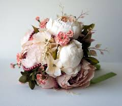 Blush Peony Bridal Bouquet Silk Wedding Flowers Vintage Rustic Shabby Chic Bride Bridesmade