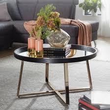 wohnling design couchtisch rund ø 78 cm dunkel gold mit spiegel glasplatte wohnzimmertisch schwarz