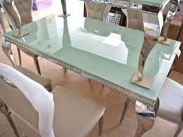 esstisch spiegelplatte chrom deko esszimmer creme küchentisch neu
