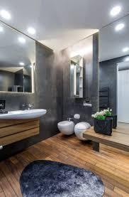 graue einrichtung badezimmer anthrazit holzboden