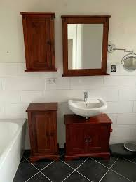 badezimmer möbel schrank spiegel kolonialstil holz