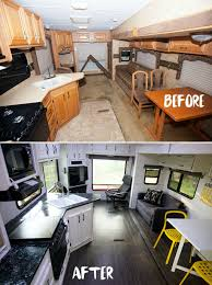 See Tips And Photos From Five Gorgeous Fifth Wheel Remodels RV Renovations Include Upgrades Modifications To Cabinets Walls Furniture Flooring