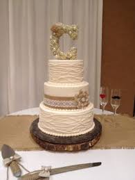 How Fun Is This Buttercream Cake With Piped Vines And Burlap Lace Ribbon The