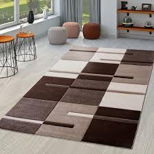 moderner wohnzimmer teppich braun beige creme karo muster mit konturenschnitt