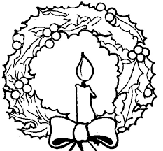 Christmas Candle And Wreath Coloring Pages