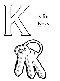 K Is For Key Alphabet Coloring Pages Free
