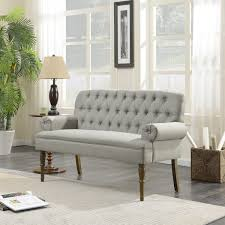 BELLEZE English Style Vintage Button Tufted Settee Living Room Bench Loveseat Sofa Solid Wood Legs Gray