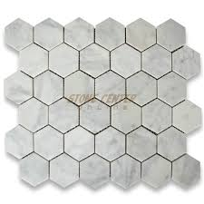 carrara white 2 inch hexagon mosaic tile honed marble from italy