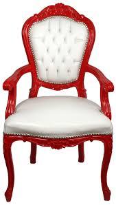 casa padrino luxus barock esszimmer stuhl mit armlehnen weiß rot handgefertigter küchen stuhl mit edlem kunstleder barock esszimmer möbel