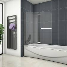 badewanne 2 ftg falttür duschwand duschabtrennung 100x140cm
