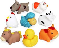 schwimmendes badespielzeug farm set 8 pcs weiche hunde enten schaf henne schwein badespielzeug badezimmer spielzeug sich hin und herbewegende