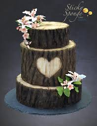 This Is Our Rustic Log Slice Wedding Cake The Bark Hand Sculpted From Fondant Then Airbrushed With Food Colouring And Decorated Some Sugar Flowers