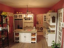 Vintage Country Kitchen Feminin Design Pink Backdrop And White Curtain Portable Island Double Handle Fridge