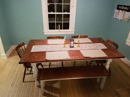 Made My Wife A Farmhouse Style Dining Room Table The Legs Myself To Save On Cost