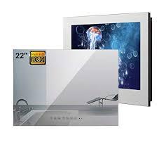 soulaca 22 zoll smart spiegel tv android ip66 wasserdichter badezimmer fernseher 1080p mit wi fi integrierte lautsprecher dvb t dvb t2 dvb c empfang