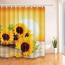 Sunflower Bath Gift Set by Amazon Com Sunflower Shower Curtain Home U0026 Kitchen